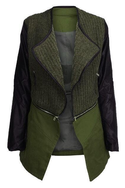 Spliced Zippered Detachable Army-green Coat