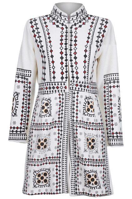 False Pearl Chain Print White Coat