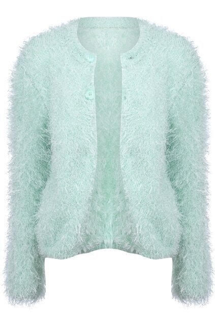 Twin Buttoned Hairy Green Coat