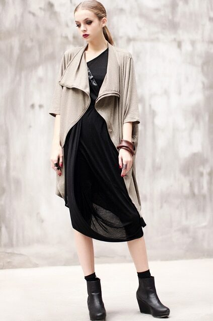 Asymmetry Loose Zippered Coffee Coat