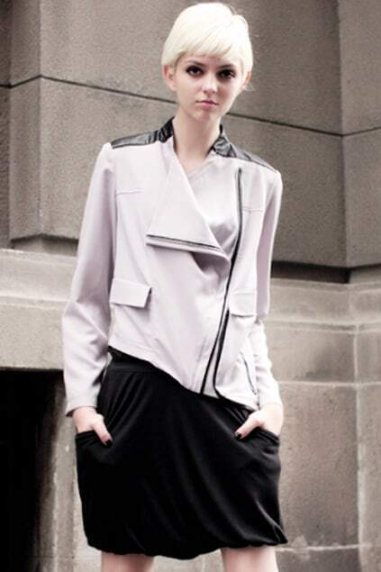 Lapel Oblique Hem Zippered Grey Jacket