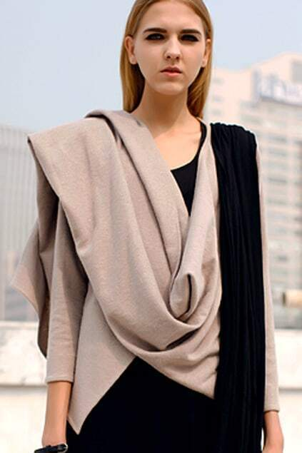 Cowl-neck Light Cream Coat