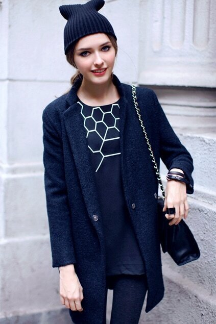Stand Collar Black Coat