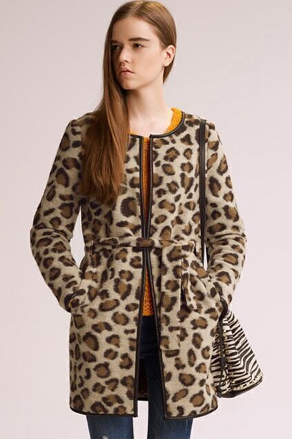 Leather Spliced Leopard Woolen Coat