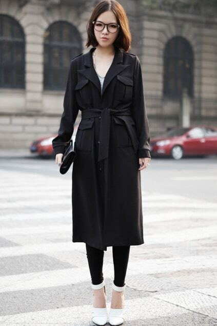 Multi-pockets Lacing Waist Black Trench Coat