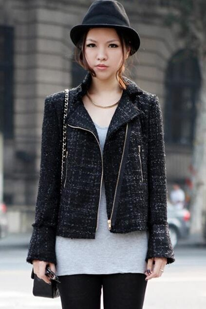 Brief Zippered Black Woolen Coat