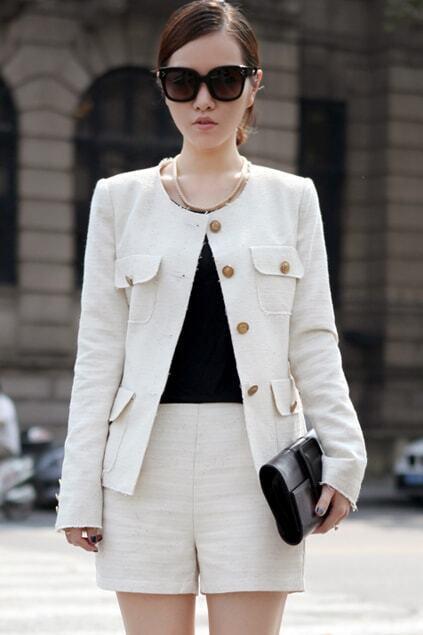 Single-breasted Scoop Neck White Woolen Coat