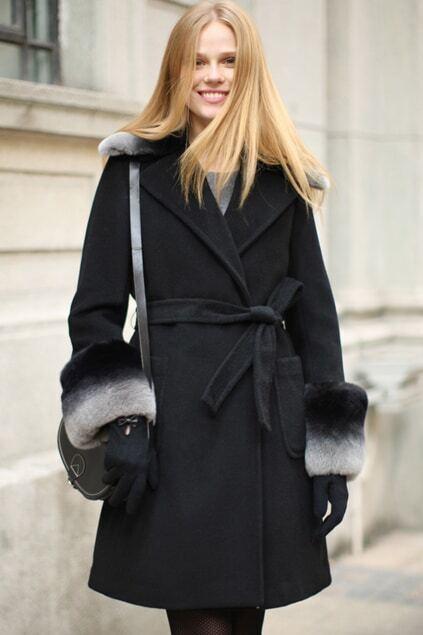 Retro Faux Fur Black Woolen Coat