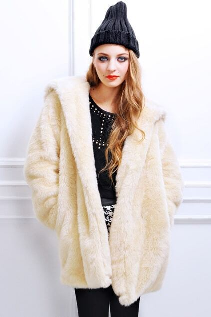 Faux Fur Apricot Hooded Coat