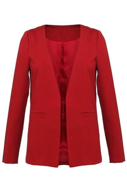 Red Loose No-Button Blazer