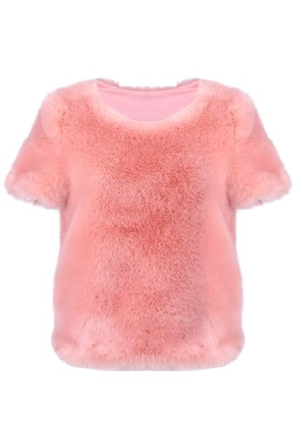 Pink Full-off-Fur Coat