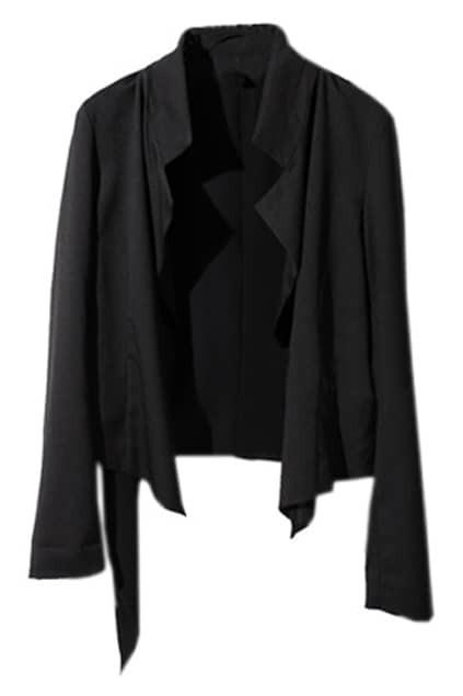Asymmetry Sides Black Chiffon Blazer