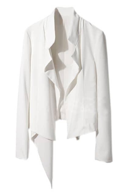 Asymmetry Sides White Chiffon Blazer