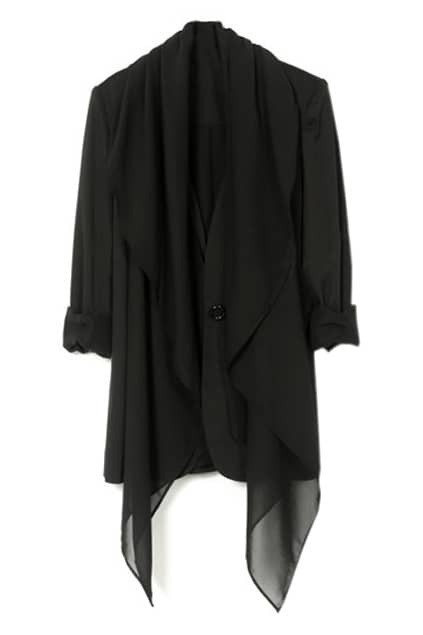 Collarless Black Chiffon Blazer
