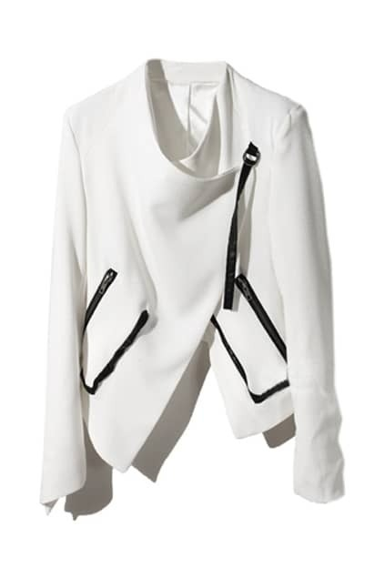 Leather Spliced White Short Blazer