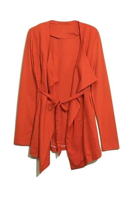 Anomalous V-shaped Neck Orange Coat