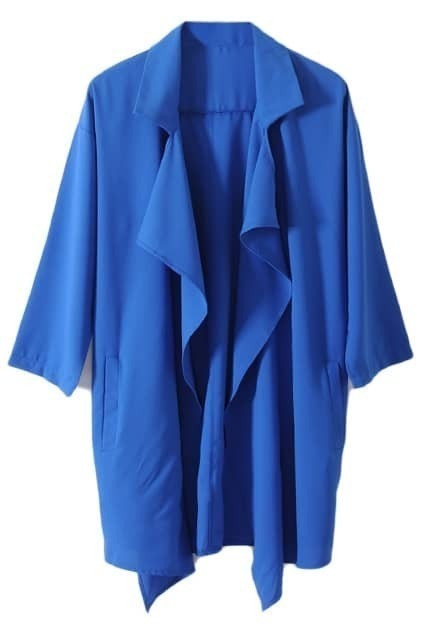 Anomalous Chiffon Blue Trench Coat