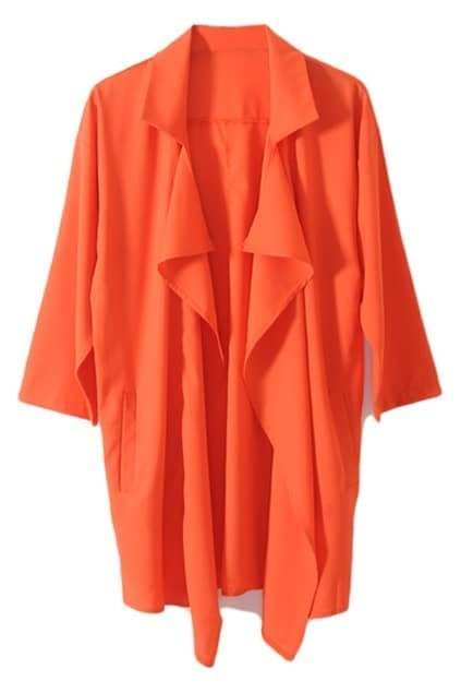 Anomalous Chiffon Orange Trench Coat