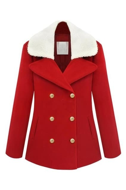 Double-breasted Fur Collar Red Coat