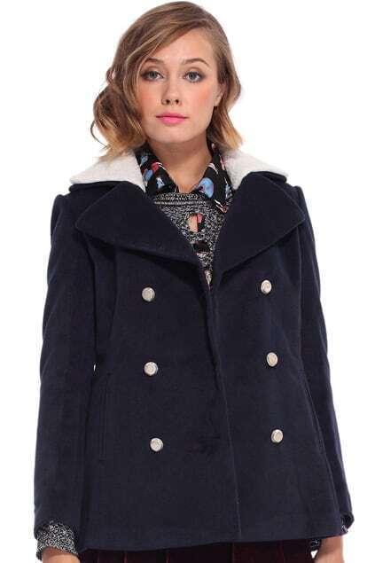 Double-breasted Fur Collar Dark Blue Coat