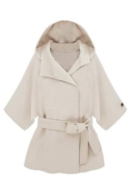 Hooded Lacing Seven Cuffs White Coat