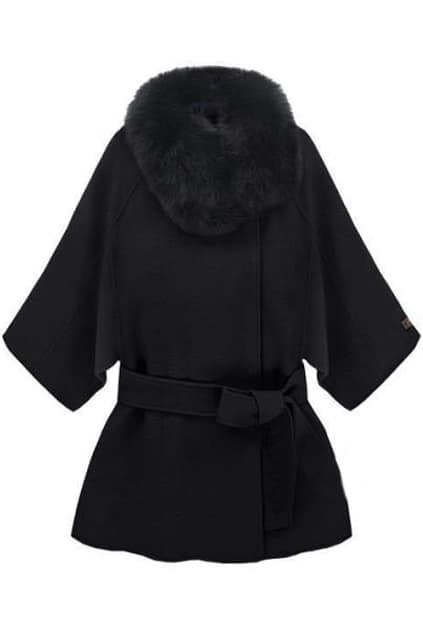 Hooded Fur Collar Lacing Black Coat