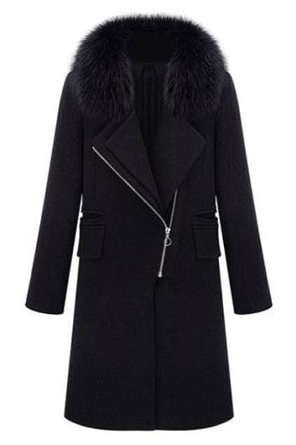 Lapel Fur Collar Zippered Black Coat