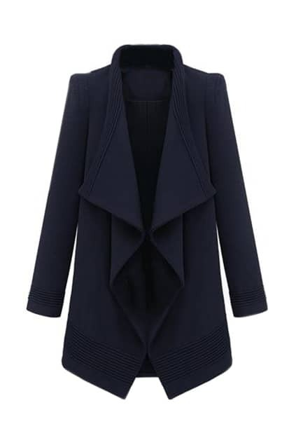 Irregular Lapel Lacing Dark Blue Coat