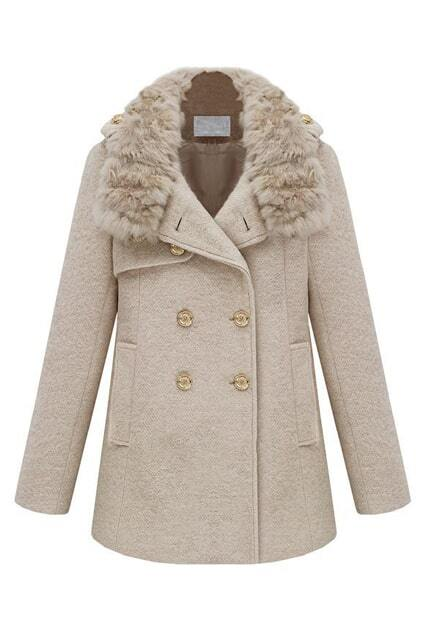 Epaulet Decorative Fur Collar Creamy-white Coat