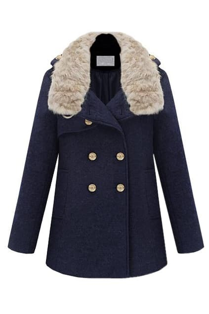 Epaulet Decorative Fur Collar Navy-blue Coat