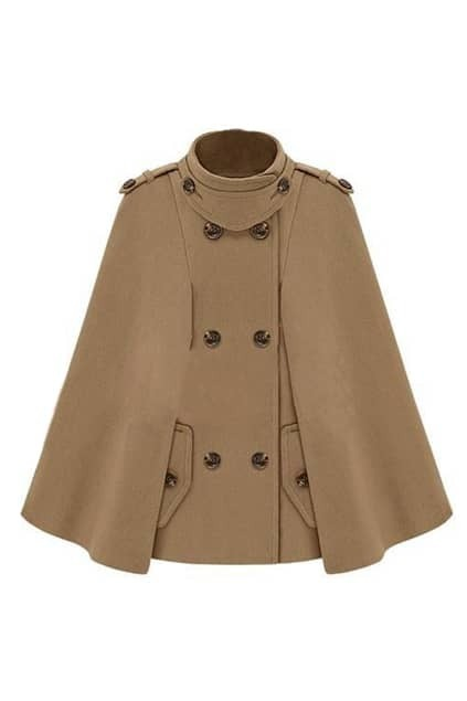 Brief Styling Double Breasted Camel Cape