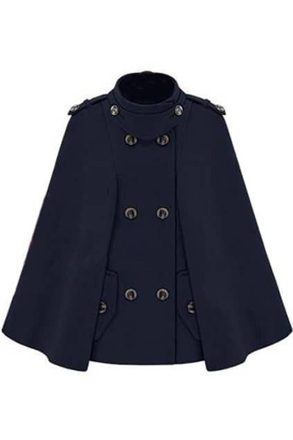 Brief Styling Double Breasted Navy-blue Cape