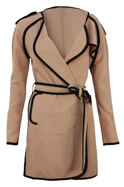 Selvedge Spliced Dark Nude-Pink Trench Coat