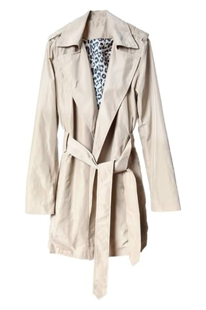 Self-tie Belt Light Khaki Trench Coat