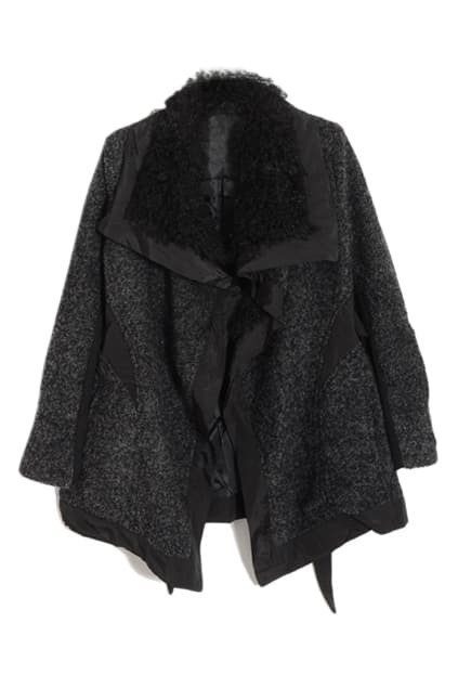 Lapel Asymmetric Black Coat