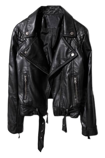 Zippers Locomotive Style Black Leather Coat