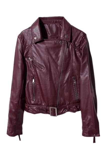 Zippers Locomotive Style Dark-Red Leather Coat