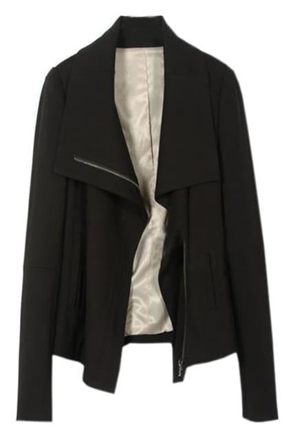 Line Zipper Black Coat