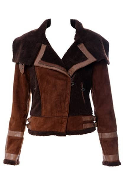 Fake Suede Cholocate Motorcycle Jacket