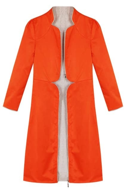 Hollow Zip Orange Trench Coat