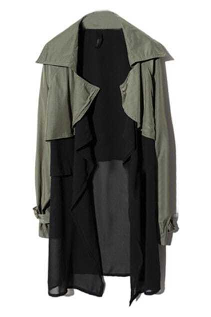 Asymmetric Army-green Trench Coat