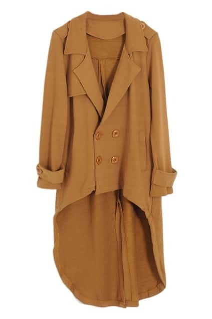Asymmetric Double-breasted Dovetail Yellow Woolen Coat