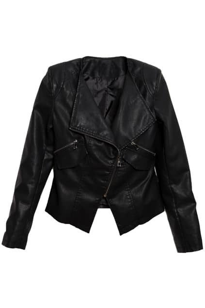 Multi Zippered Black Leather Coat