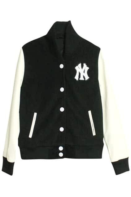 Single-breasted Band Collar Black Coat