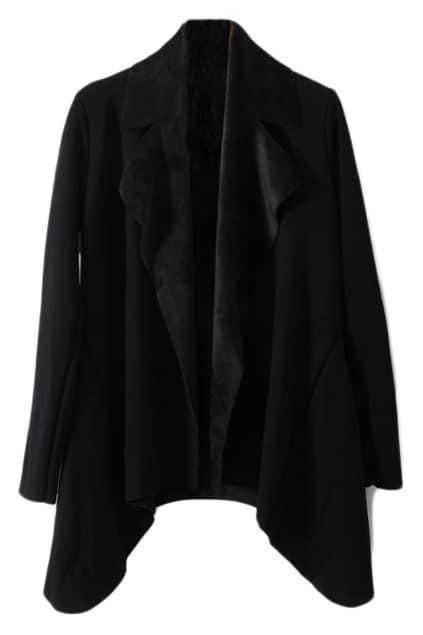 Anomalous Large Lapel Black Coat