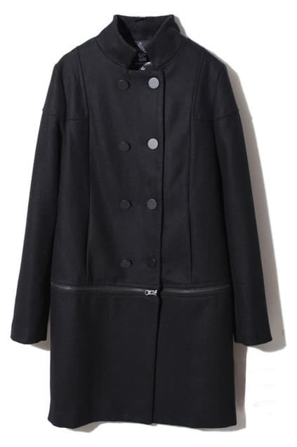 Removable Band Collar Black Woolen Coat