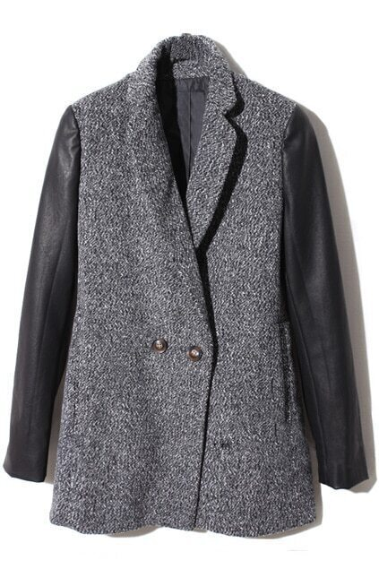 Spliced Double Buttons Dark-grey Woolen Coat
