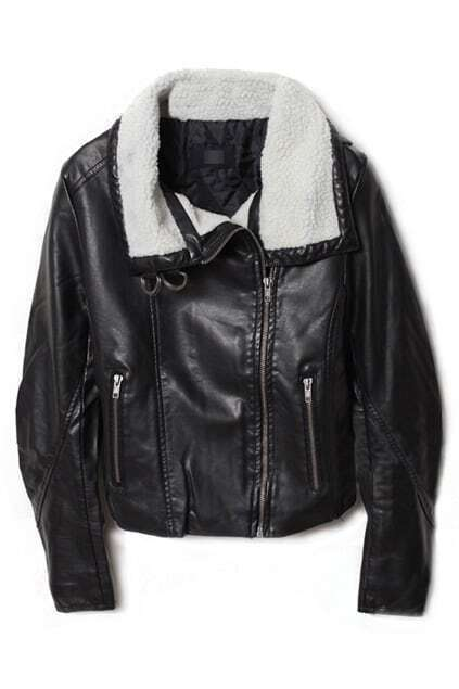 Multi-zippered Velvet Collar Black Leather Coat