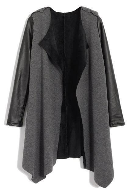 Irregular Motorcyle Lapel Grey Trend Coat