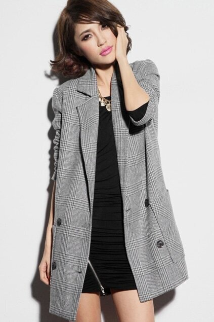 Lapel Solid Check Wool Light-grey Blazer